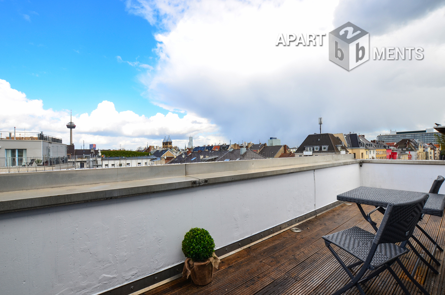 Modern furnished maisonette apartment with roof terrace in Cologne-Neustadt-Süd