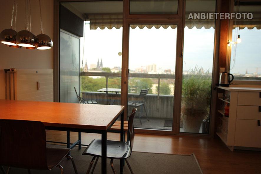 Möblierte Wohnung mit Balkon und Panoramablick in Köln-Neustadt-Nord